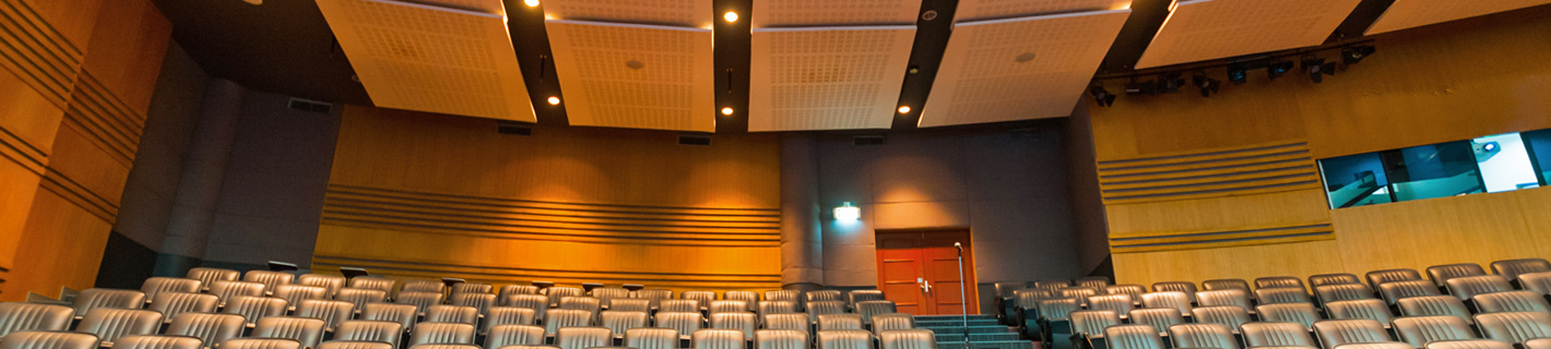 Auditorium with acoustically engineered ceiling panels and walls.