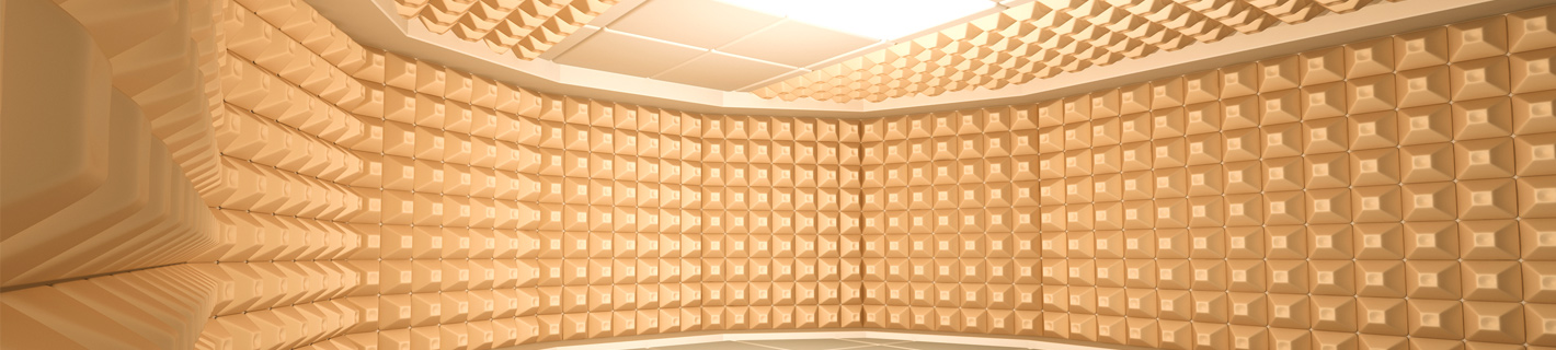 Soundproof room acoustical research and measurement.
