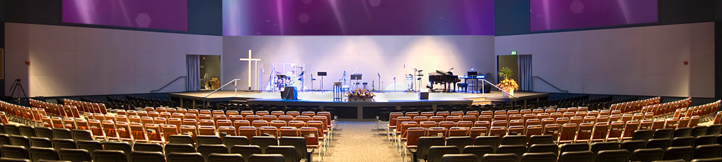 Modern Church with multimedia and acoustical design integration.