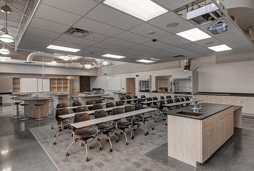Science classroom with projectors and drop ceiling for AV and acoustical requirements