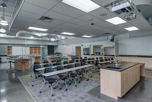 Classroom lab AV projectors and drop ceiling design.