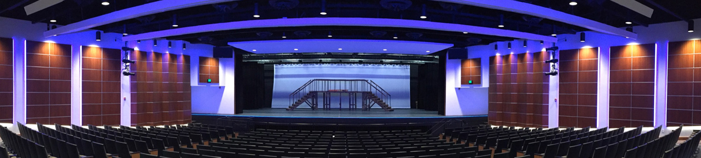 Preparatory school's performing arts center with audio visual (AV) design.