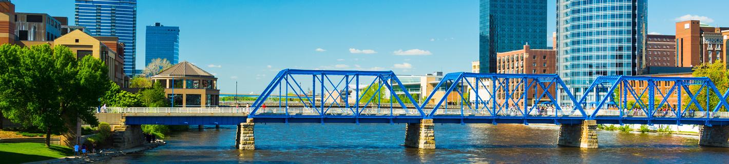 Blue bridge over Grand River in Grand Rapids, Mi