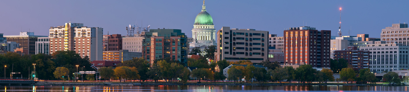 Madison, Wisconsin's quiet skyline at dusk.