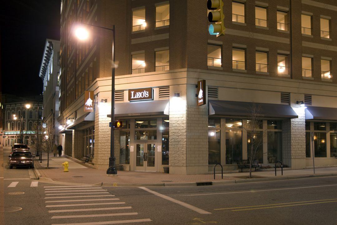 Mixed-use building requiring acoustical attention between floors