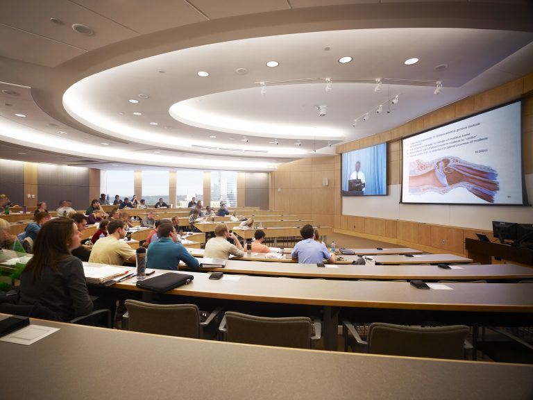 Michigan State University Secchia Center Lecture Hall with AV projection screens