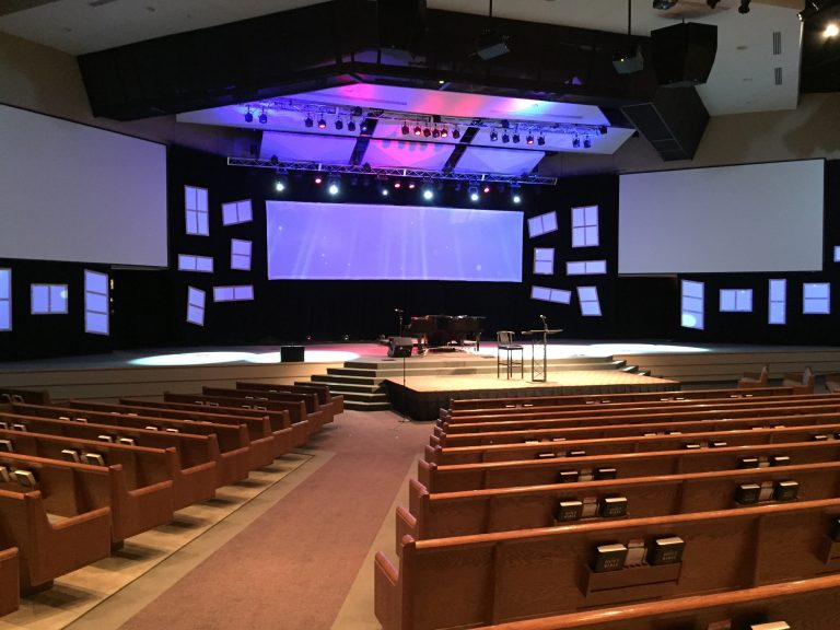 Trinity Church sanctuary and multimedia design worship experience.